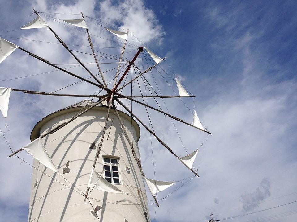 香川県 小豆島 オリーブ 風車