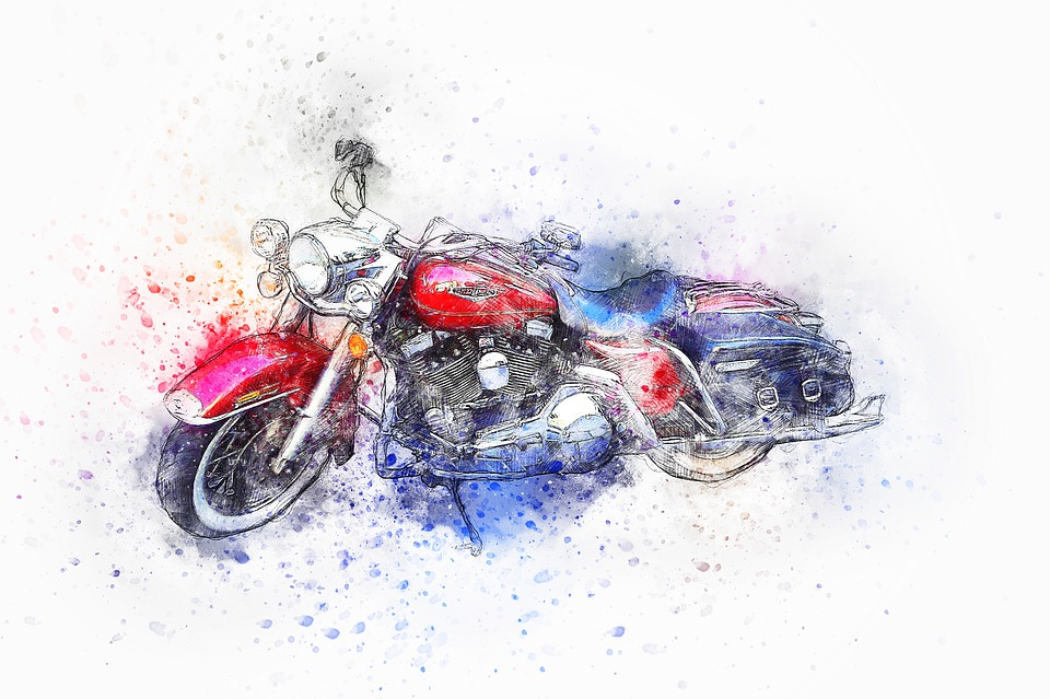 オートバイ 自転車 ハーレー 赤 クラシックカー 水彩画 ビンテージ レトロ 車両 ホイール